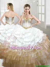 gold quince dresses fashionable beaded and ups quinceanera dress in white and