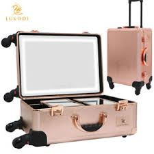 rolling makeup case with lighted mirror rolling makeup artist cosmetic case studio show w light mirror