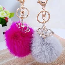 cute key rings images Top qualitu fluffy ball keychains 2016 cute simulation rabbit fur jpg