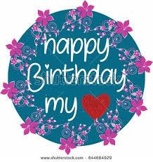 happy birthday card flowers hearts icons stock vector 541927576