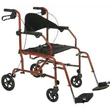 Transport Walker Chair Medline The Combination Transport Chair Rollator Red Walgreens