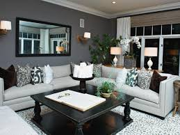 Living Room With Dark Brown Sofa by Charcoal Wall In Living Rooms With Dark Brown Sofas Including Baby