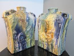 asian majolica ceramic vases vessels decorated swirl dragons for