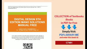 digital design 5th edition mano solutions manual free video