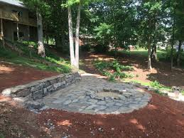 Stone Patio With Fire Pit Flagstone Patio U0026 Fire Pit Installed For Seneca Customer