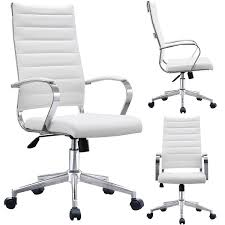 Shop 2xhome Modern White High Back Office Chair Ribbed PU Leather