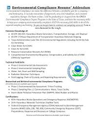 Resume Addendum Environmental Compliance Resume Addendum