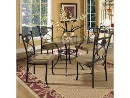 Silver Dining Room Set by Steve Silver Brookfield Round Glass Top Dining Table U0026 4 Side