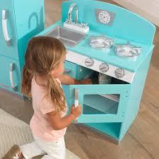 kidkraft blue retro kitchen and refrigerator 53286 uk kitchen