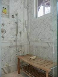 Bathroom Shower Bench Bathroom Shower With Marble Wall Tiles And Teak Wood Shower Bench