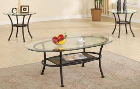 Metal And Glass Coffee Table Amazon Com 3pc Metal Coffee Table U0026 End Tables Set In Black