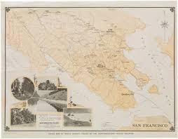 Marin Map Sold 1925 Edward Denny Hiking Map Of Marin County Northwestern