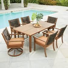 Patio Set With Swivel Chairs 7 Piece Patio Dining Set With Swivel Chairs Home Outdoor Decoration