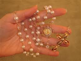 pearl rosary gold and pearl rosary