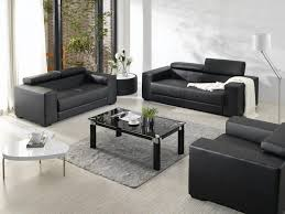 Modern Leather Sofa Living Room Grey Rug Black Glass Rectangle Coffee Table Dark