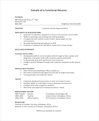 Customer Service Skills Resume Sample by Functional Resume Sample 9 Examples In Pdf