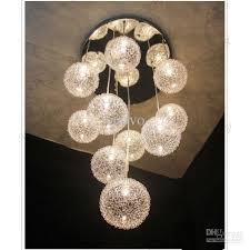 Sphere Ceiling Light 10 Heads Glass Aluminum Wire Glass Balls Living Room Ceiling