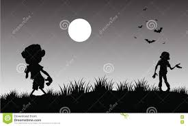black and white halloween background silhouette silhouette of zombie halloween with gray backgrounds stock vector