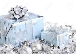 wrapped gift boxes with silver ornaments on white