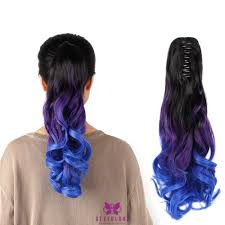 ambre suit curly hair ombre three tone ponytail hair 20 50cm long jaw claw style
