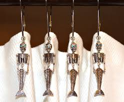 Rhinestone Shower Curtain Hooks Mermaid Skeleton Shower Curtain Hooks Articulated Silver