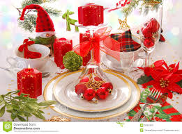 christmas table decoration with red candles royalty free stock