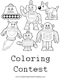 free robot birthday party printables