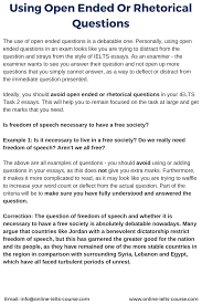 using open ended or rhetorical questions for the ielts exam