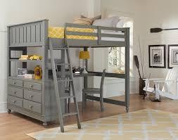ne kids lake house full high loft bed with desk stone grey kids