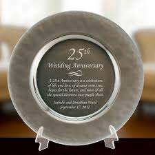 engraved silver platter silver glass 25th anniversary plate
