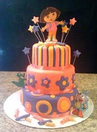 dora birthday cake pink purple u0026 orange cakecentral com
