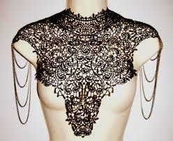 steampunk lace black bib detachable collar by whitelotuscouture