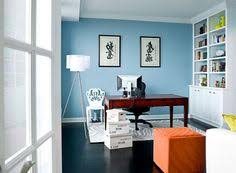 White And Blue Color Schemes Solid Wood Furniture Craftsman Home - Home office paint ideas