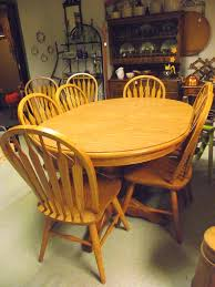 solid oak dining room set double pedestal table 8 chairs 3 leaves