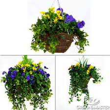 plastic flowers decorative purple yellow artificial hanging baskets pansy