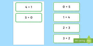 number bonds to 5 primary maths resources page 1