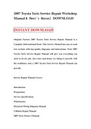 2007 toyota yaris service repair workshop manual u0026 owen s manual down u2026