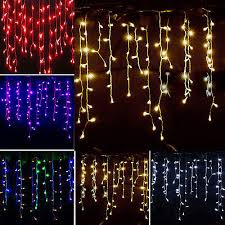 icicle hanging snowing string lights curtain