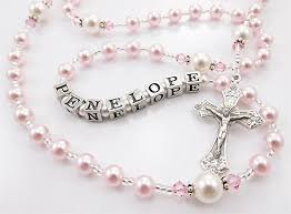 personalized rosary personalized rosary in pink and white swarovski