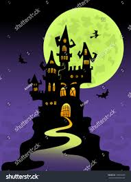 halloween castle background scary castle mountain top halloween vector stock vector 134504429