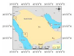 tabuk map map of saudi arabia including the four regions considered in this
