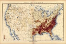 Vintage United States Map by Print Of Distribution Of The Non White Population Of The United