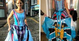 wedding dresses manchester and the wore blue bury woman marries wearing manchester