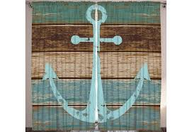 anchor on rustic wood living room curtain