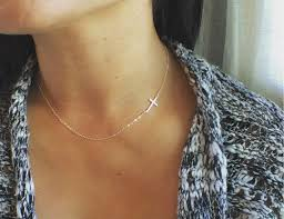 cross choker necklace images Cross necklace sideways cross necklace all sterling silver jpg