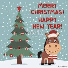 merry and happy new year near tree