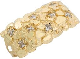 fingers rings gold images Yellow gold white cz diamond cut nugget style two finger mens ring jpg