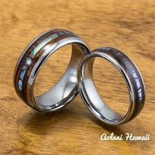 wedding band sets tungsten koa wood wedding rings aolani hawaii