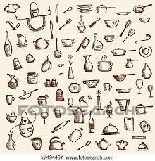 dessins cuisine clipart ustensiles cuisine croquis dessin pour ton conception