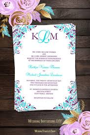 Catholic Wedding Invitations Kaitlyn Wedding Invitation Purple Turquoise Wedding Template Shop